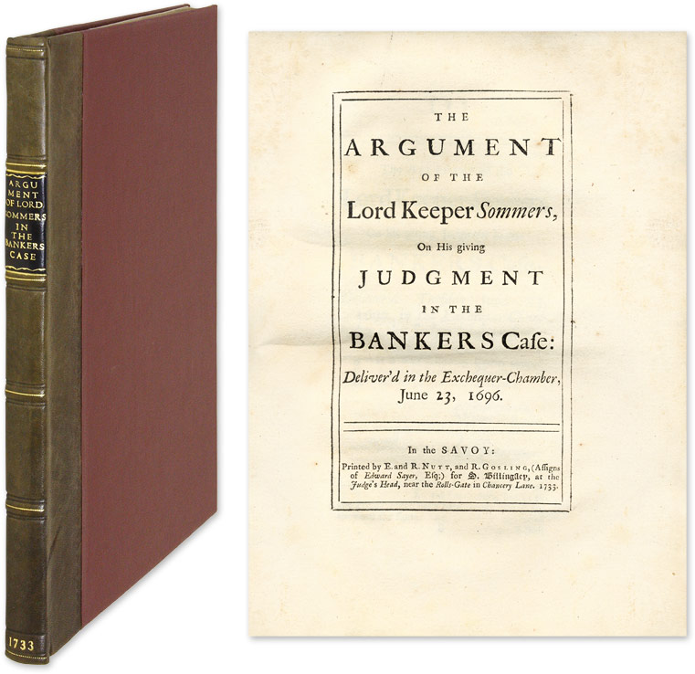 The Argument of the Lord Keeper Sommers, On His Giving Judgment. John Somers, Lord.