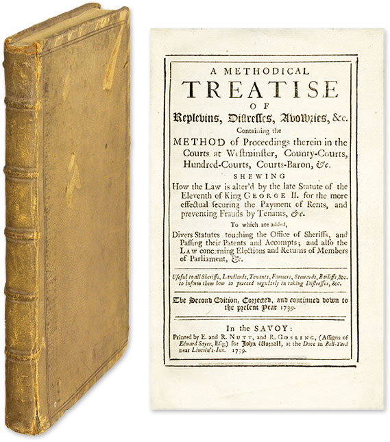 A Methodical Treatise of Replevins, Distresses, Avowries. Replevin.