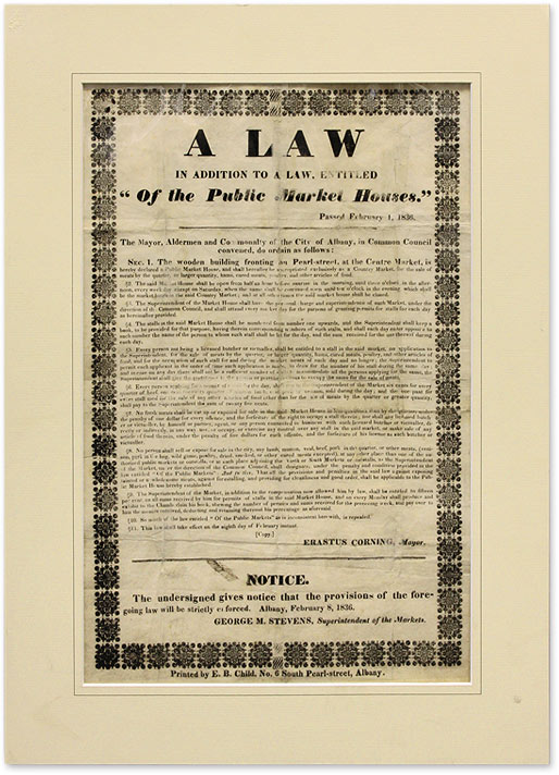 """A Law in Addition to a Law, Entitled """"Of the Public Market Houses."""" New York Broadside. Albany."""
