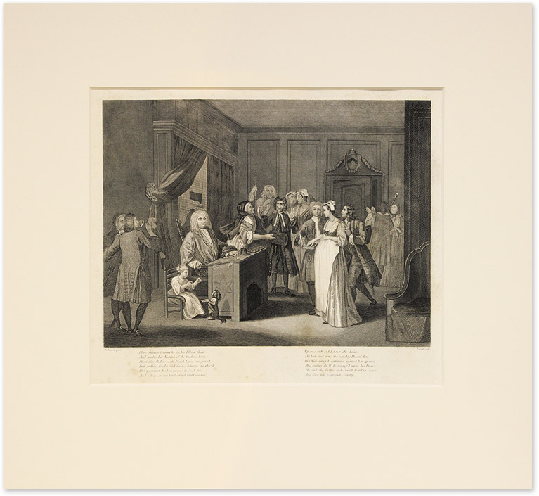 A Woman Swearing Her Child to a Grave Citizen. Copperplate Engraving. William Hogarth, After.