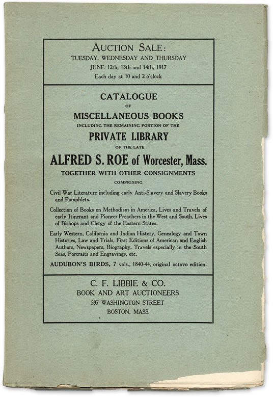 Catalogue of Miscellaneous Books Including the Remaining Portion of. Auction Catalogue, C F. Libbie, Co.