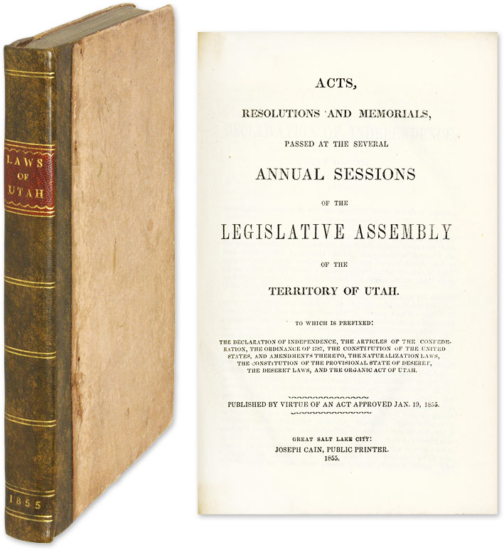 Acts, Resolutions and Memorials, Passed at the Several Annual. Utah Territory.