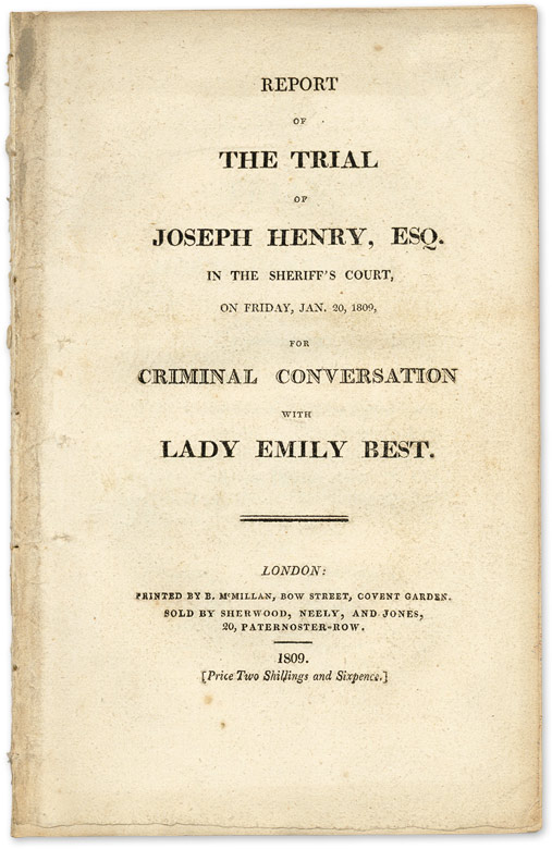 Report of the Trial of Joseph Henry, Esq, In the Sheriff's Court. Trial, Joseph Henry, Defendant.