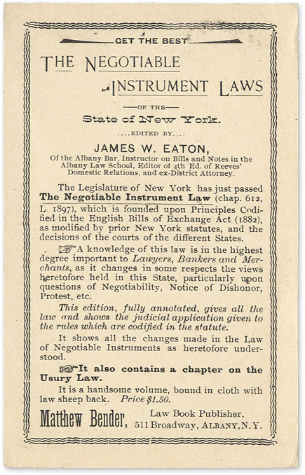 Get the Best: The Negotiable Instrument Laws of the State of New York. Legal Publishing, Advertising. Matthew Bender.