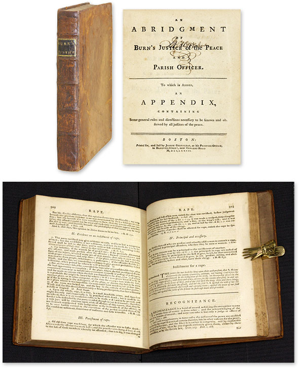 An Abridgment [Abridgement] of Burn's Justice of the Peace and Parish. Richard. Greenleaf Burn, Joseph.