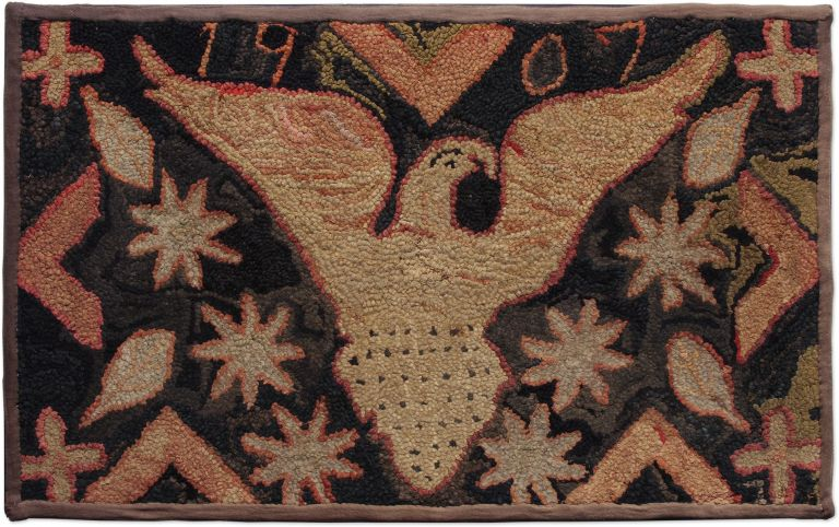 American Primitive-Style Hooked Rug, Dated 1907 25