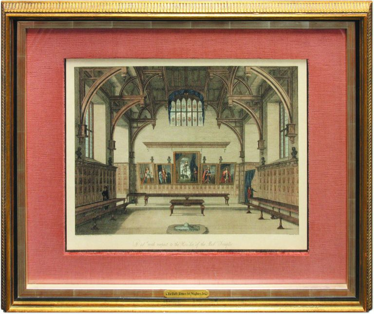 Middle Temple Hall, 1800, Framed color tinted engraving. James Peller Malcolm.