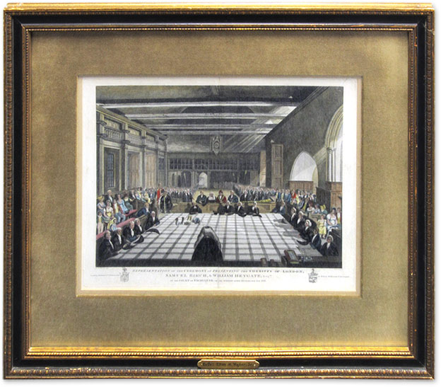 Representation Of The Ceremony Of Presenting The Sheriffs Of London. G. J. M. Whichels, After., James Stow, Engraver.