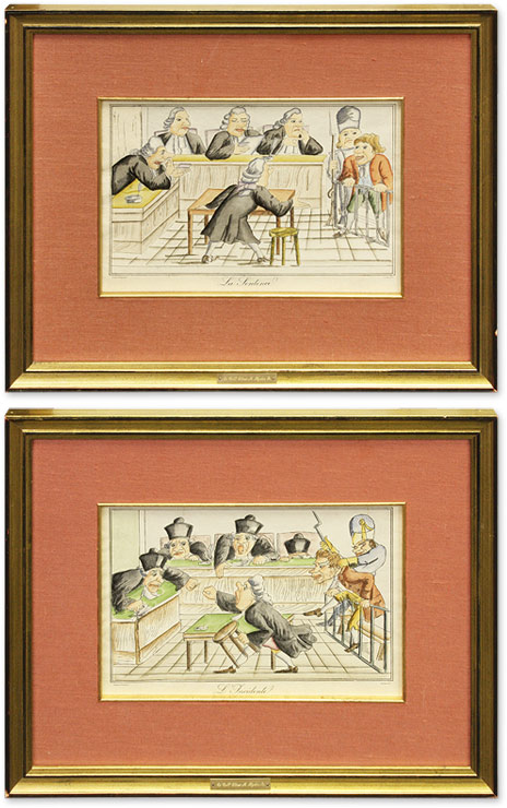 L'Incidente and La Sentence, Two Color Lithographs. France, Caricature.