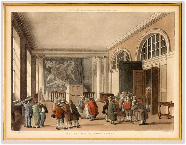 """Excise Office, Broad Street. Glazed and matted 11"""" x 9"""" aquatint. Thomas Rowlandson, Augustin Charles Pugin."""