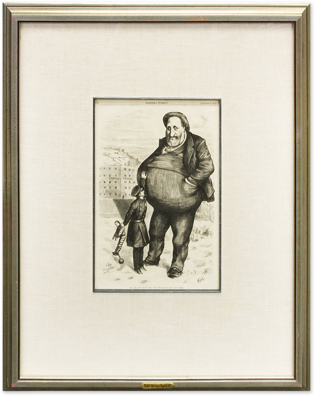 """Can the Law Reach Him?-The Dwarf and the Giant Thief. Thomas Nast, William M Tweed, """"Boss"""""""