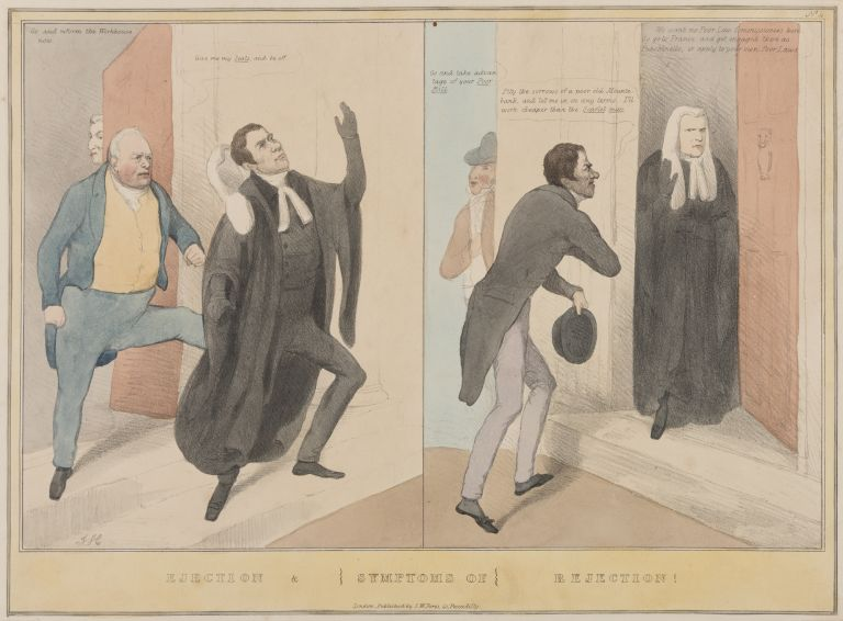 """Ejection & Symptoms of Rejection!, 15-1/2"""" x 11-1/2"""" Hand-Colored. Thomas Hood."""