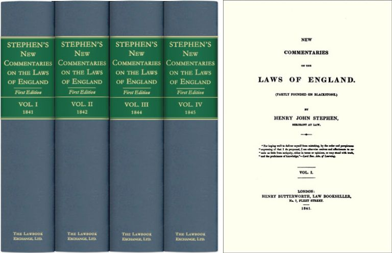New Commentaries on the Laws of England. 4 Vols. Henry John Stephen.