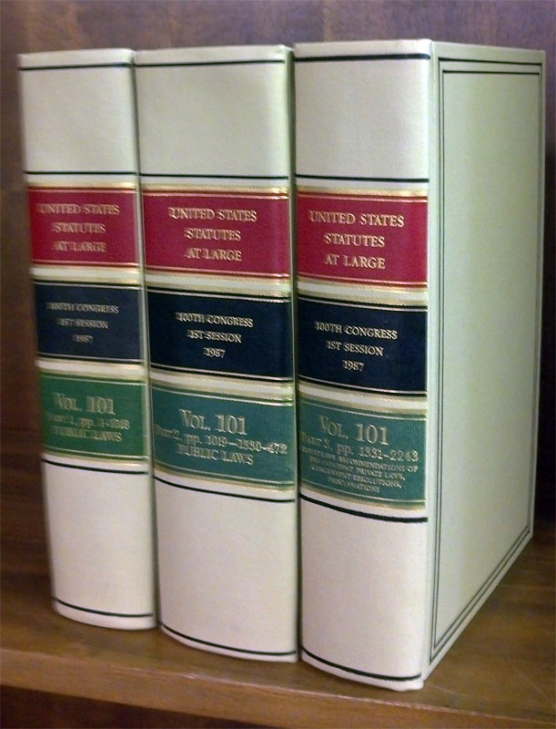 United States Statutes at Large. Volume 101, in 3 books (1987). United States Congress. 100th 1st Session.