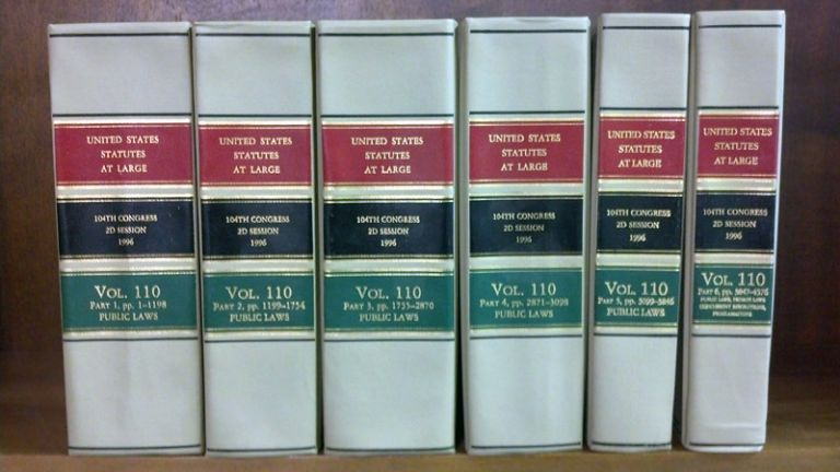 United States Statutes at Large Volume 110, in 6 books (1996). United States Congress. 104th 2d Session.