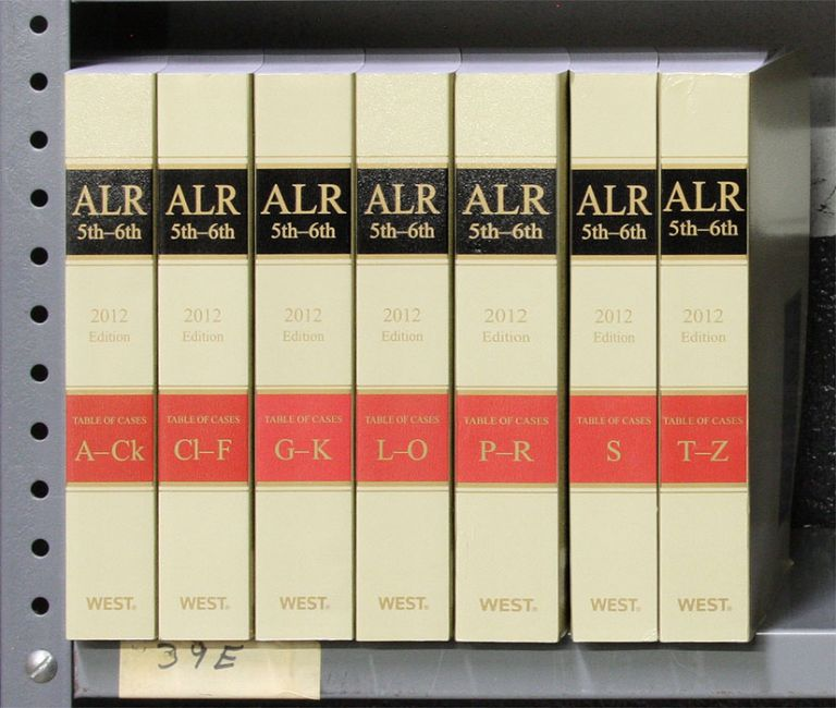 ALR 5th and 6th Tables of Cases. A-Z, 7 books (softbound). 2012 Ed. Thomson West.