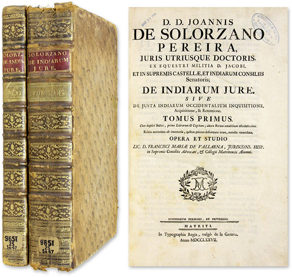 De Indiarum Jure, Sive de Justa Indiarum Occidentalium Inquisitione. Juan de Solorzano Pereira.
