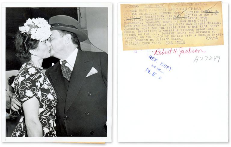"7"" x 9"" Black-and-White Photograph of Jackson Kissing His Wife. Robert H. Jackson."
