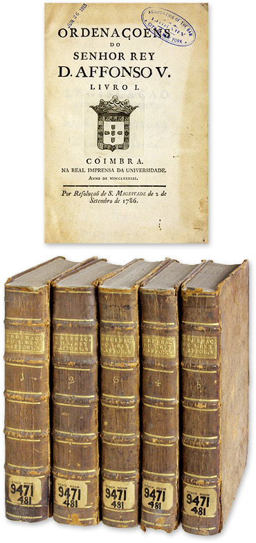 Ordenacoens do Senhor Rey D Affonso V, Five Volumes, 1786. Portugal.