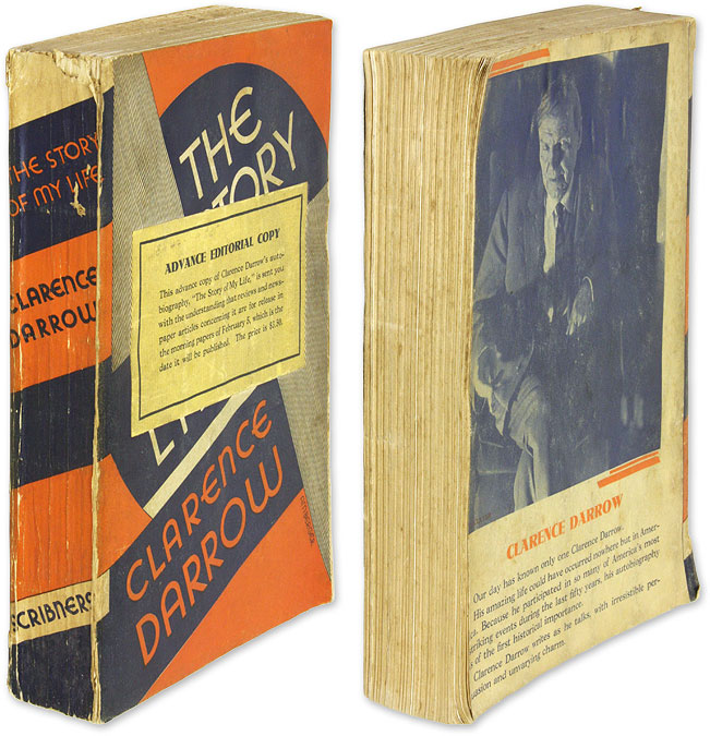 The Story of My Life; Advance Editorial Copy. Clarence Darrow.