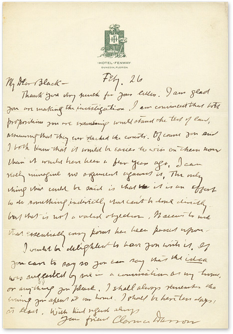 Autograph Letter, Signed, to Black [with] The Story of My Life, 1st. Clarence Darrow, Forrest R. Black.