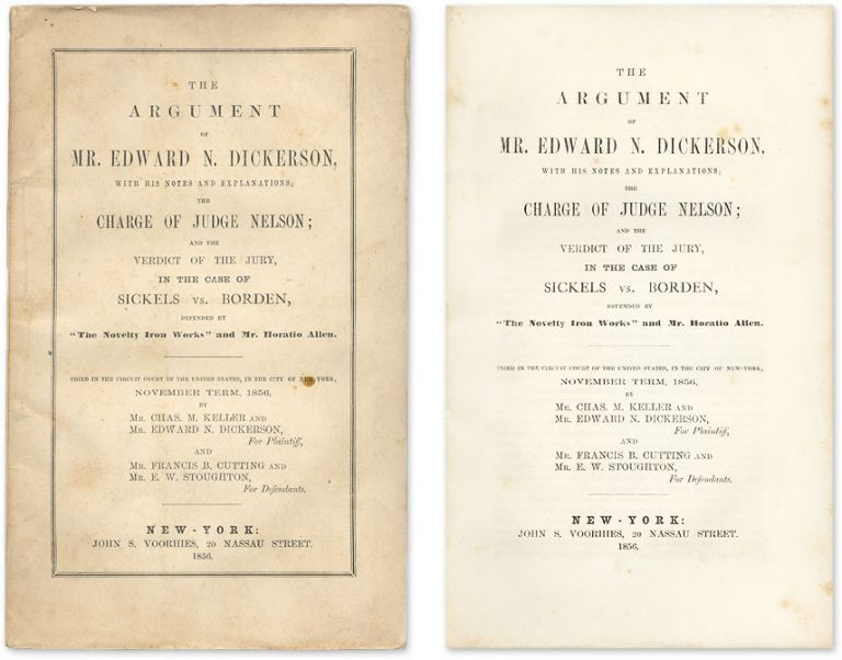 The Argument of Mr. Edward N. Dickerson, With His Notes and. Trial, Sickels, v Corliss, E. N. Dickerson.