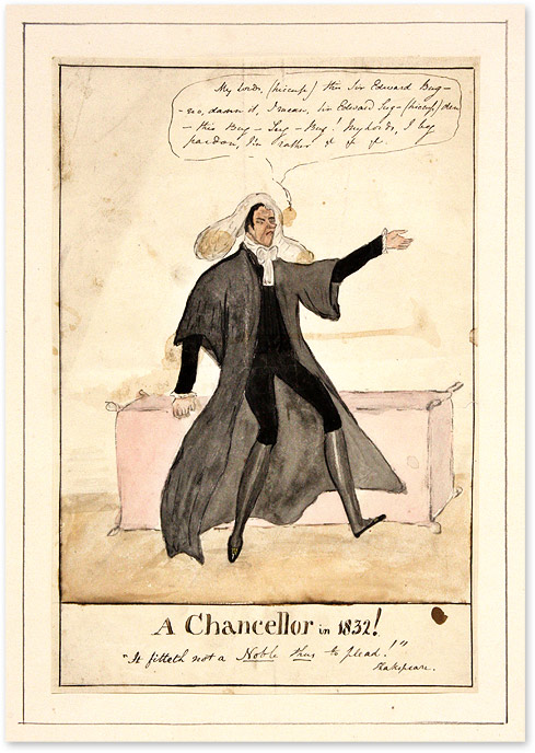 """A Chancellor in 1832! 7-1/2"""" x 11"""" Watercolor on Matted Board. Sir Edward Sugden."""