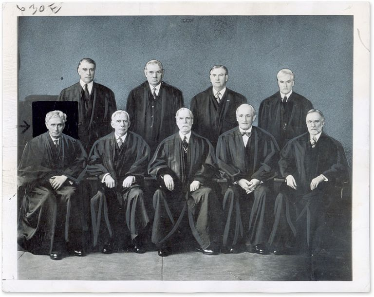 "9"" x 7"" Black-and-White Press Portrait Photograph of the Hughes Court. United States Supreme Court."