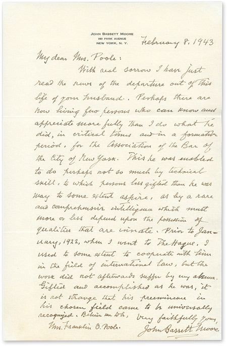 Autograph Letter, Signed, To Poole, February 8, 1943. Manuscript, John Bassett Moore, Mrs Frank Poole.
