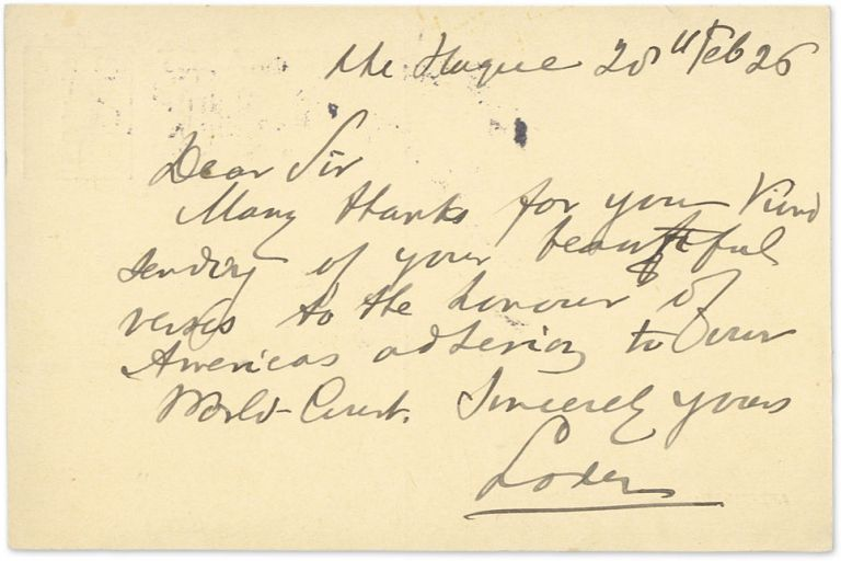 Autograph Note, Signed, on the back of a 7-1/2 cent Netherlands. Bernard C. J. Loder, Alfred A. Furman.
