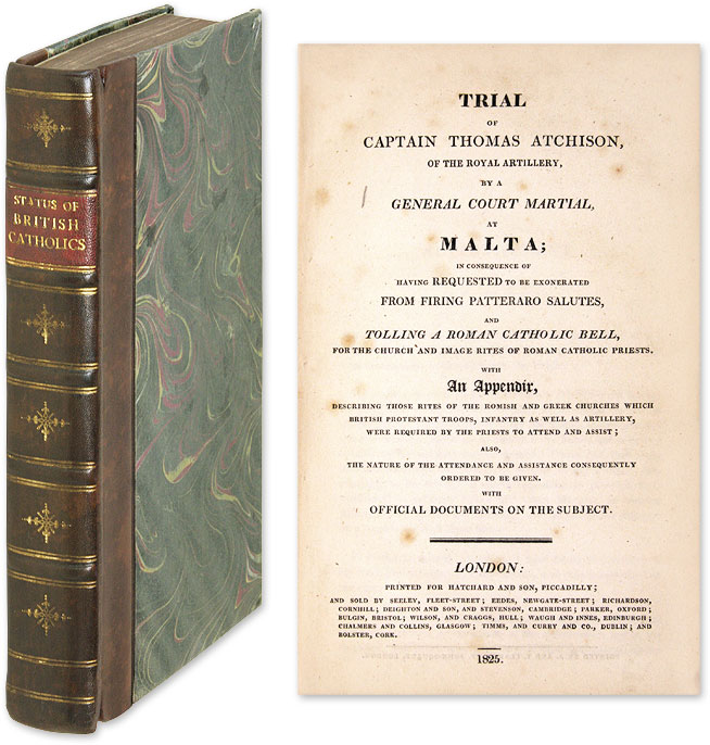 Trial of Captain Thomas Atchison [Bound with Seven Other Pamphlets]. Trials, Catholics, Great Britain.