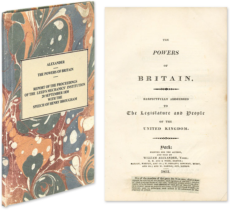 The Powers of Britain, Respectfully Addressed to the Legislature. William Alexander.