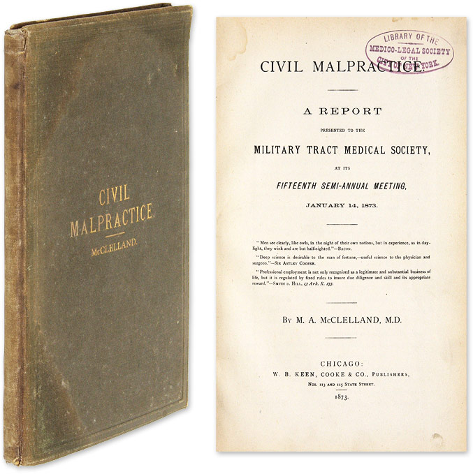 Civil Malpractice, A Report Presented to the Military Tract Medical. Milo Adams McClelland.