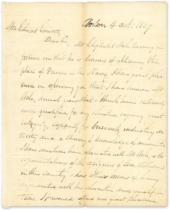 1827 Autograph Letter Signed,To Edward Everett, With Everett's. Manuscript, Lemuel Shaw, Edward Everett.