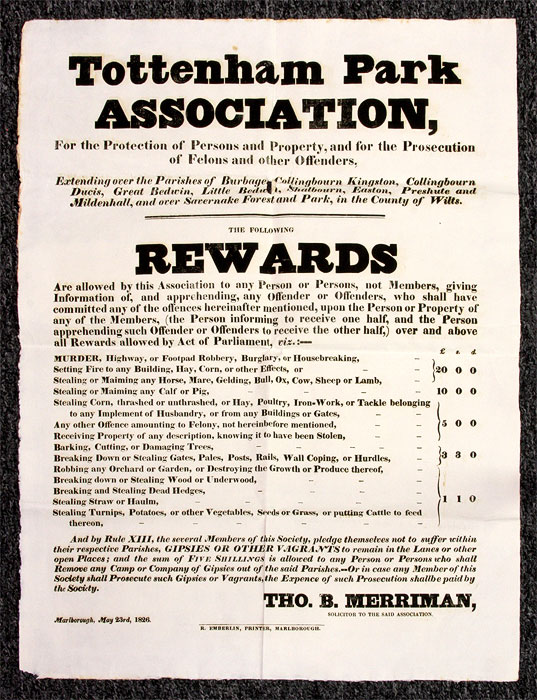 Collection of Printed Broadsides Relating to the Establishment and. Broadsides, Great Britain, Tottenham Park Assoc.