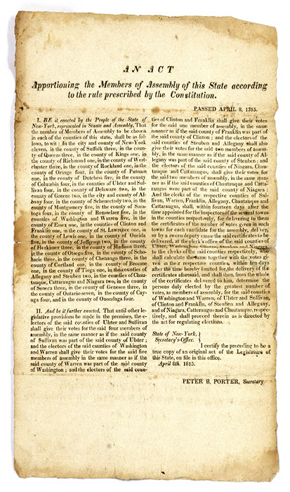 An Act Apportioning the Members of Assembly of this State. Broadside, 1815 New York. Broadside. Albany.