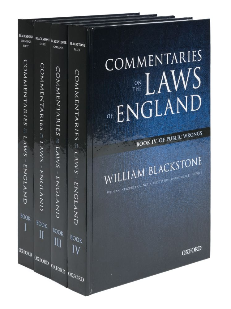 The Oxford Edition of Blackstone: Commentaries on the Laws of England. Willaim. Wilfrid Prest Blackstone.