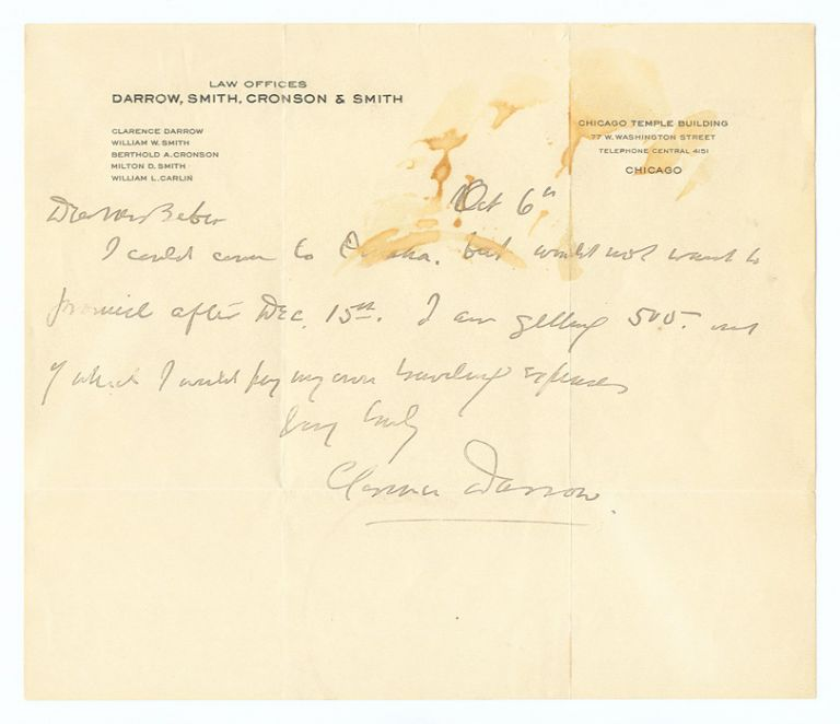 Autograph Letter, Signed, On Darrow, Smith, Cromson & Smith. Clarence Darrow.