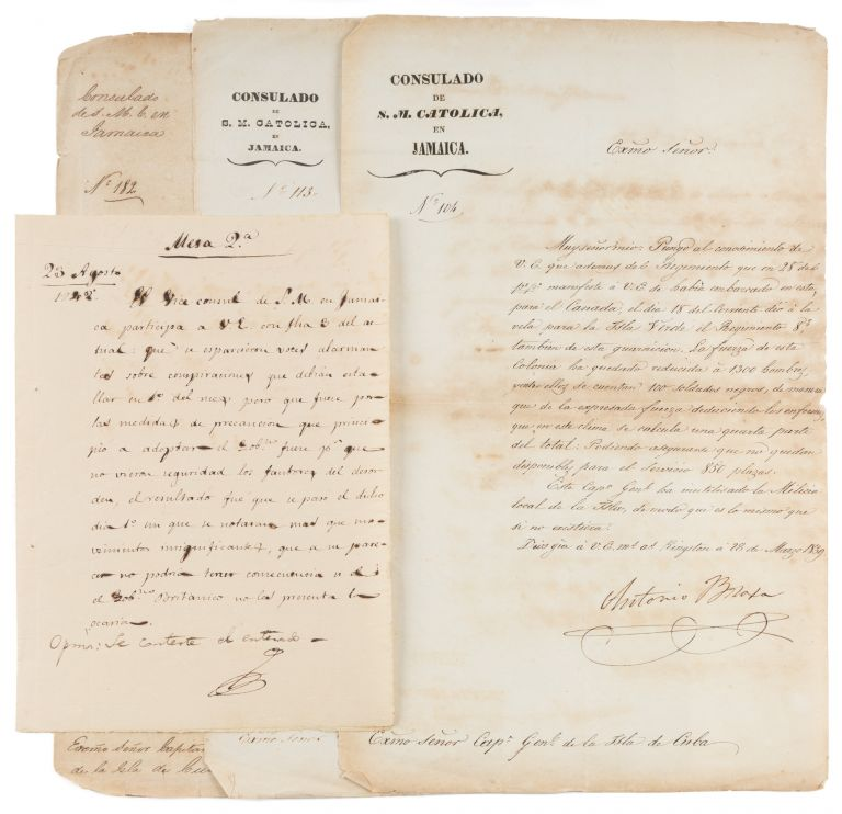 Three Letters Reporting on Slavery on the Letterhead of the Cuban. Manuscript, Cuba, Jamaica, Antonio Brosa, Slavery.