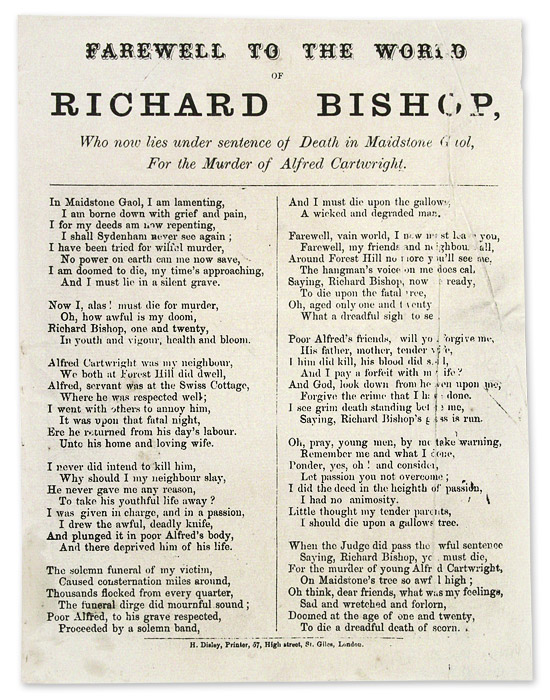 Farewell to the World of Richard Bishop, Who Now Lies Under Sentence. Broadside, Execution, Richard Bishop.