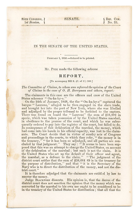 In the Senate of the United States. February 1, 1858, Ordered. Slavery, United States.