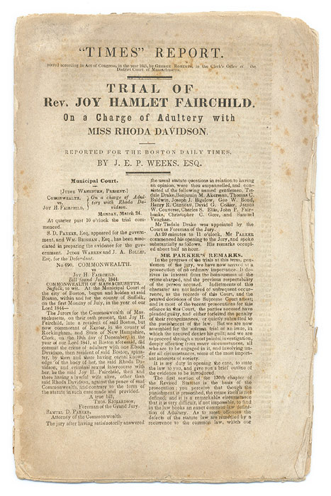 Trial of Rev Joy Hamlet Fairchild, On a Charge of Adultery with Miss. Trial, Joy Hamlet Fairchild.
