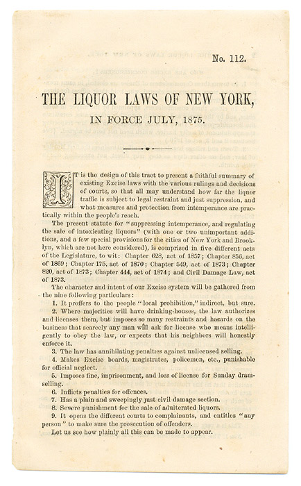 The Liquor Laws of New York, In Force July, 1875. National Temperance Society, Publication House.