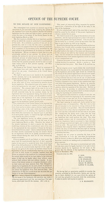 Opinion of the Supreme Court, To The Senate of New Hampshire. Broadside, New Hampshire, U S. Constitution.