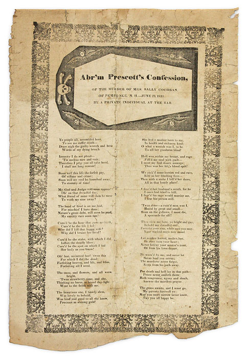 Abr'm Prescott's Confession of the Murder of Mrs. Sally Cochran. Broadside, Murder, Private Individual at the Bar.