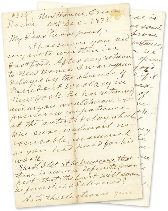 Autograph Letter, Signed, To Edwards Pierrepont, New Haven, 1878. Manuscript, Thomas Thacher, Edwards Pierrepont.
