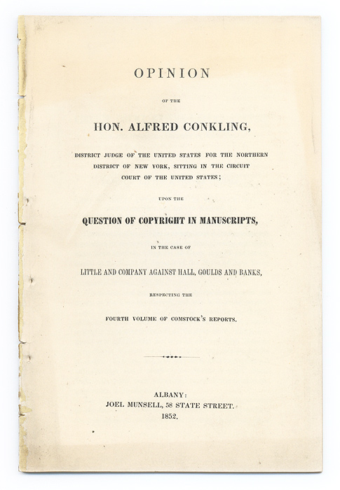 Opinion of the Hon Alfred Conkling, District Judge of the United. Alfred Conkling.