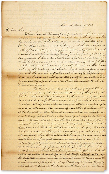Autograph Letter Signed, by Henry B. Cowles, New York Lawyer. Manuscript, Henry B. Cowles.