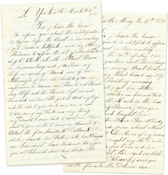 Legal Rant Over a Contentious Divorce and a Personal Summons. Manuscript, Anthony Ober.