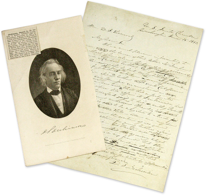 Draft Autograph Letter, Signed, to Winfield Scott Sherwood, 1850. Manuscript, Daniel S. Dickinson, W. Sherwood.